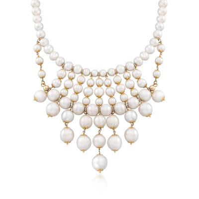 Italian 8-14mm Cultured Pearl Bib Necklace in 18kt Gold Over Sterling