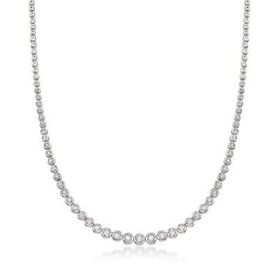 1.50 ct. t.w. Bezel-Set Diamond Necklace in Sterling Silver, , default