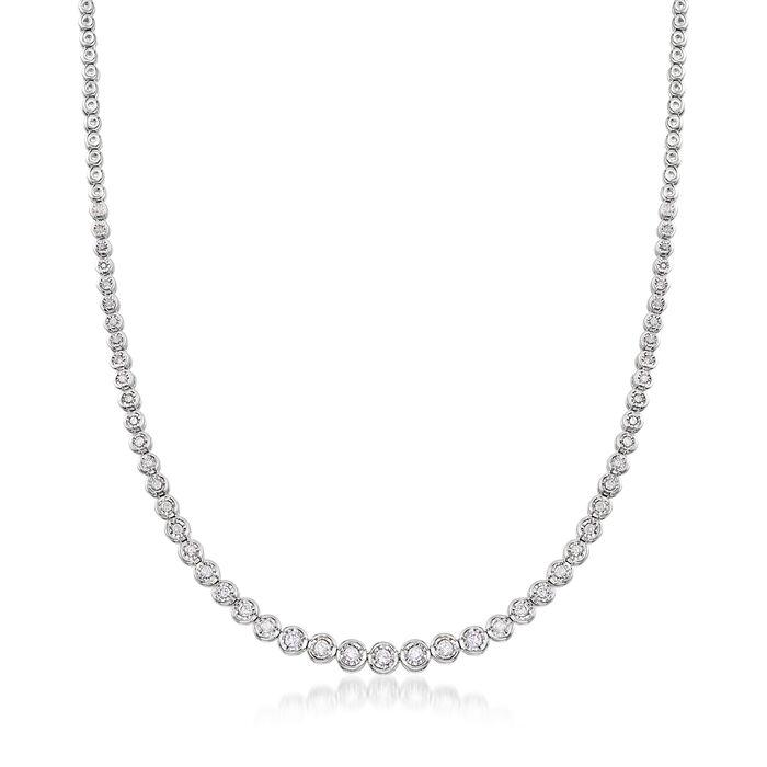 1.50 ct. t.w. Bezel-Set Diamond Necklace in Sterling Silver