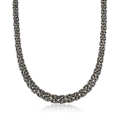 Sterling Silver Graduated Byzantine Necklace in Black, , default