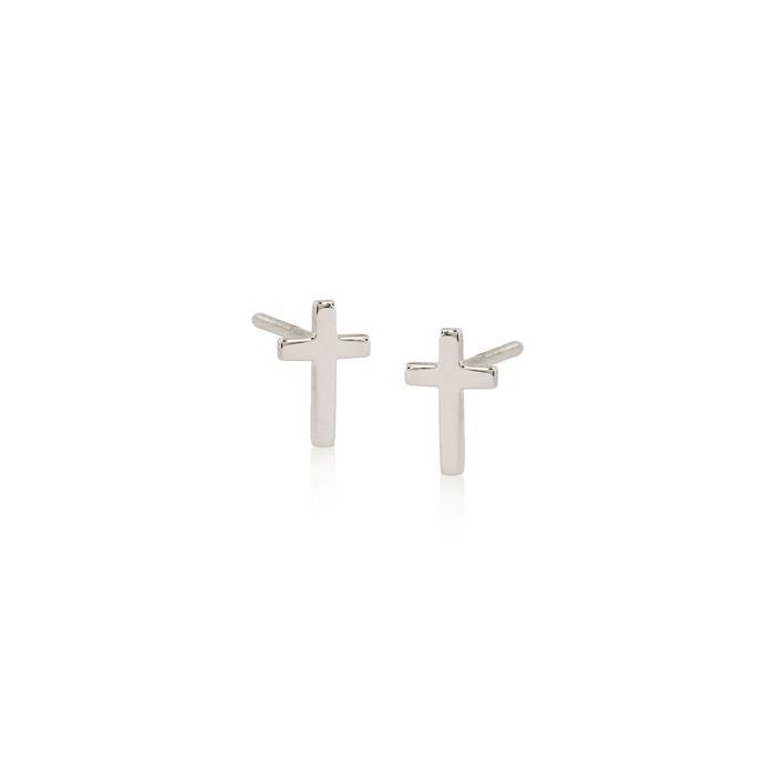 Child's 14kt White Gold Cross Earrings, , default