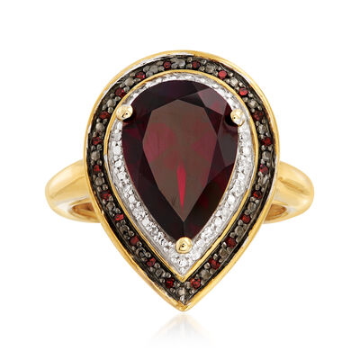 4.20 Carat Garnet and .20 ct. t.w. Red and White Diamond Ring in 18kt Gold Over Sterling, , default