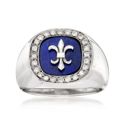 C. 1970 Vintage Fleur-De-Lis Lapis and .35 ct. t.w. Diamond Ring in 18kt White Gold