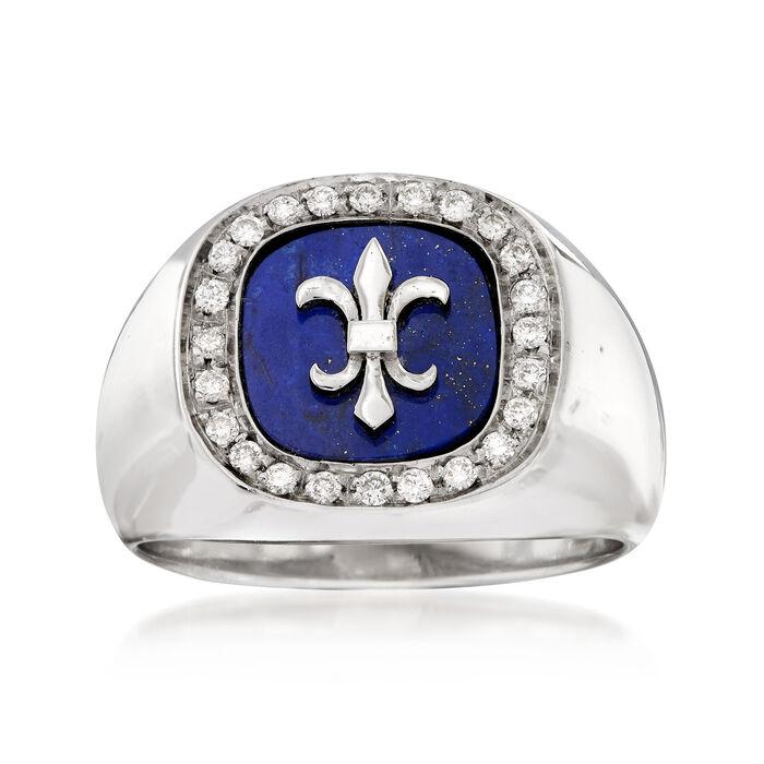 C. 1970 Vintage Fleur-De-Lis Lapis and .35 ct. t.w. Diamond Ring in 18kt White Gold