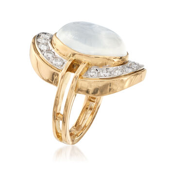 C. 1990 Vintage Moonstone Cabochon and 1.25 ct. t.w. Diamond Ring in 18kt Yellow Gold. Size 4, , default