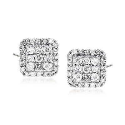.50 ct. t.w. Diamond Square-Shaped Stud Earrings in Sterling Silver