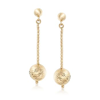 14kt Yellow Gold Diamond-Cut Bead and Popcorn Chain Drop Earrings, , default