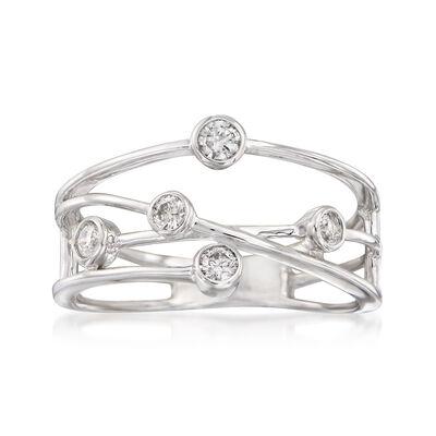 .25 ct. t.w. Bezel-Set Diamond Crisscross Ring in 14kt White Gold, , default