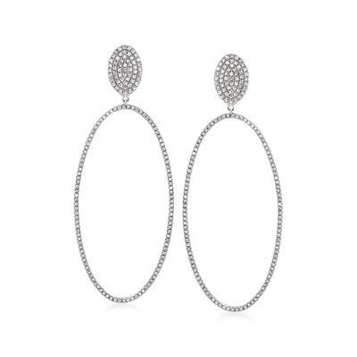 1.15 ct. t.w. Diamond Open-Space Oval Drop Earrings in 14kt White Gold
