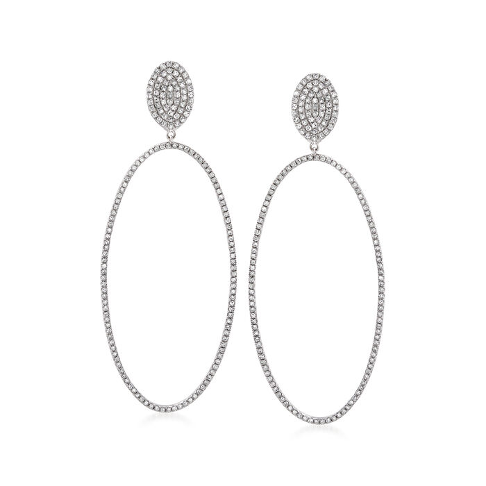 1.15 ct. t.w. Diamond Open-Space Oval Drop Earrings in 14kt White Gold