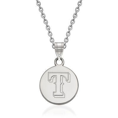 "Sterling Silver MLB Texas Rangers Disc Pendant Necklace. 18"", , default"