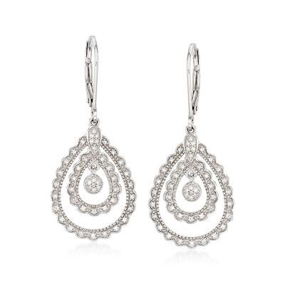 .25 ct. t.w. Diamond Teardrop Earrings in Sterling Silver, , default