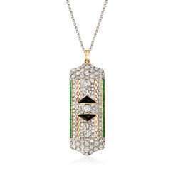 "C. 2000 Vintage 3.00 ct. t.w. Diamond and 1.25 ct. t.w. Emerald Pin Pendant Necklace With Black Onyx in 14kt and 18kt Gold. 17"", , default"