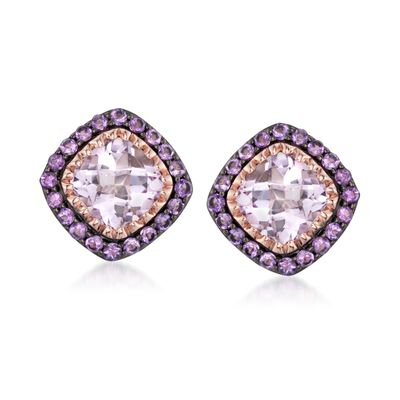 6.70 ct. t.w. Pink and Purple Amethyst Earrings in 14kt Rose Gold Over Sterling, , default