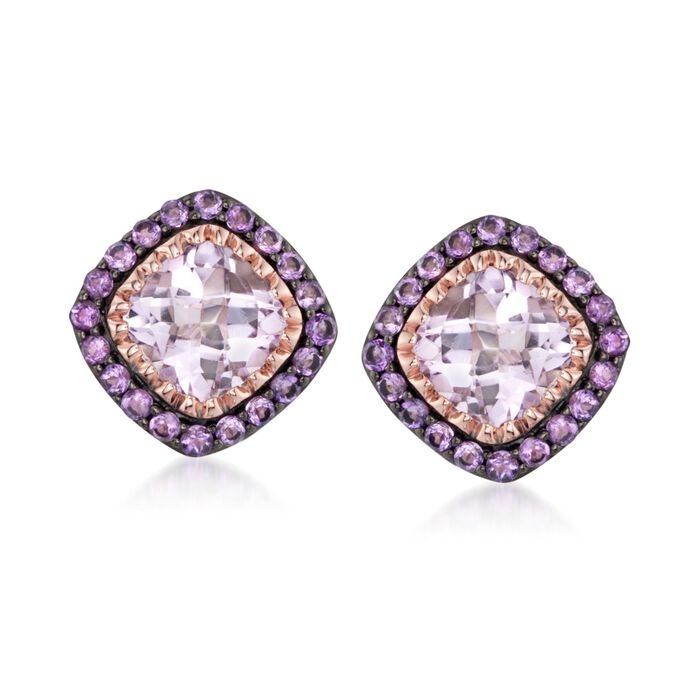 6.70 ct. t.w. Amethyst Earrings in 14kt Rose Gold Over Sterling, , default