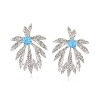 3.80 ct. t.w. White Zircon and 3.20 ct. t.w. Blue Topaz Set: Earrings and Earring Jackets in Sterling Silver