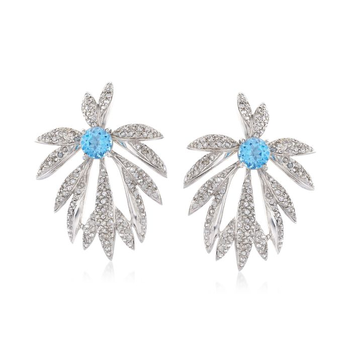3.80 ct. t.w. White Zircon and 3.20 ct. t.w. Blue Topaz Set: Earrings and Earring Jackets in Sterling Silver, , default