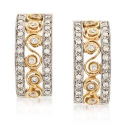 C. 1990 Vintage .65 ct. t.w. Diamond Hoop Earrings in 14kt Two-Tone Gold, , default