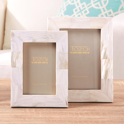 Set of Two White Mother-Of-Pearl Photo Frames , , default