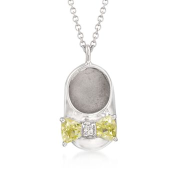 """Simulated Peridot Baby Shoe Pendant Necklace With CZ in Sterling Silver. 18"""", , default"""