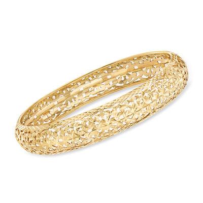 Italian 14kt Yellow Gold Openwork Bangle Bracelet