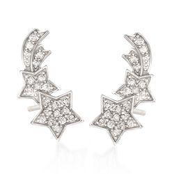 .50 ct. t.w. CZ Shooting Star Drop Earrings in Sterling Silver, , default