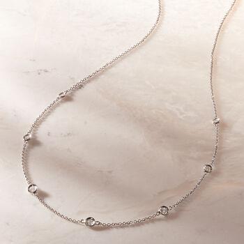 .33 ct. t.w. Graduated Bezel-Set Diamond Station Necklace in 14kt White Gold, , default