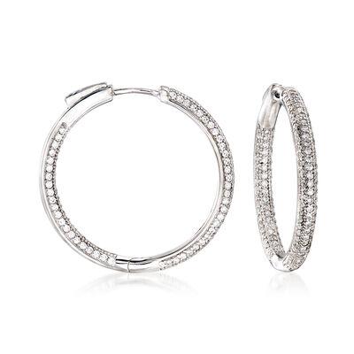 1.65 ct. t.w. Pave CZ Inside-Outside Hoop Earrings in Sterling Silver