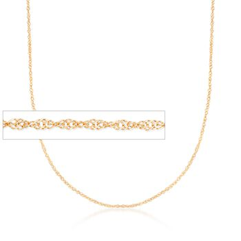 Italian 1.5mm 18kt Yellow Gold Singapore Chain Necklace, , default