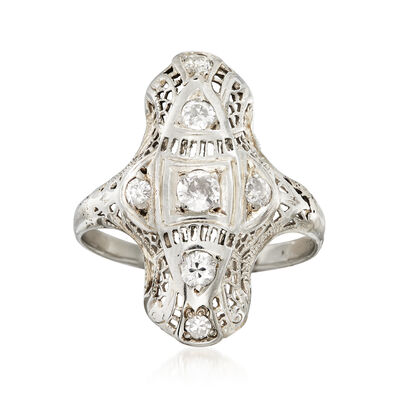 C. 1940 Vintage .45 ct. t.w. Diamond Filigree Ring in 18kt White Gold, , default