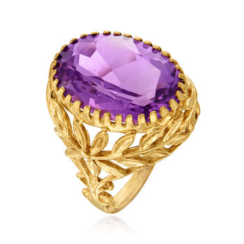 C. 1970 Vintage 10.00 Carat Amethyst Floral Ring in 10kt and 14kt Yellow Gold. Size 5.75