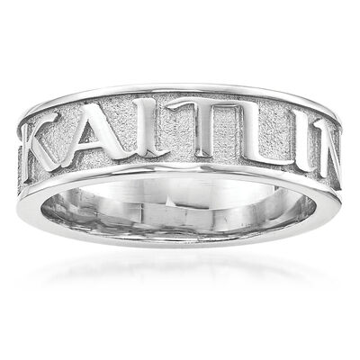 Sterling Silver Polished Sandblast Background Name Ring, , default