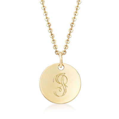 "14kt Yellow Gold Engraved Disc Necklace With Script ""J"" Initial, , default"