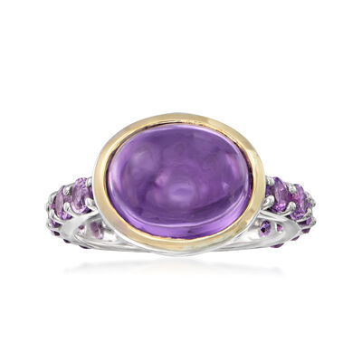 6.70 ct. t.w. Amethyst Ring in Sterling Silver and 14kt Yellow Gold, , default