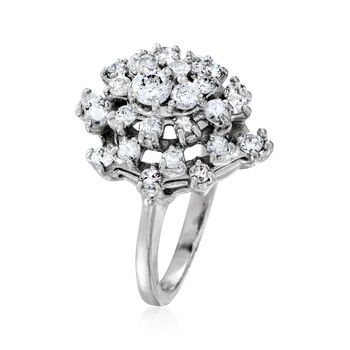 C. 1970 Vintage 1.00 ct. t.w. Diamond Cluster Ring in 14kt White Gold. Size 6.25