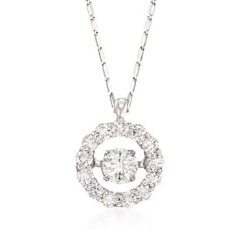 ".83 ct. t.w. Floating Diamond Halo Pendant Necklace in 14kt White Gold. 18"", , default"