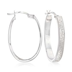 Sterling Silver Greek Key Oval Hoop Earrings, , default