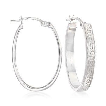 "Sterling Silver Greek Key Oval Hoop Earrings. 1 1/8"", , default"