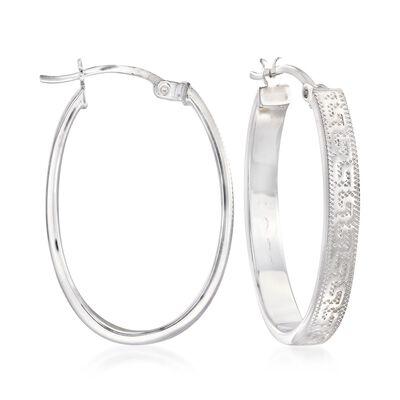 Sterling Silver Greek Key Oval Hoop Earrings, , default