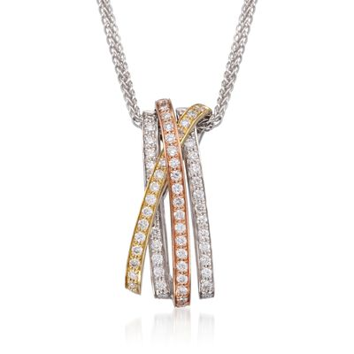 Simon G. .43 ct. t.w. Diamond Crisscross Pendant Necklace in 18kt Tri-Colored Gold, , default