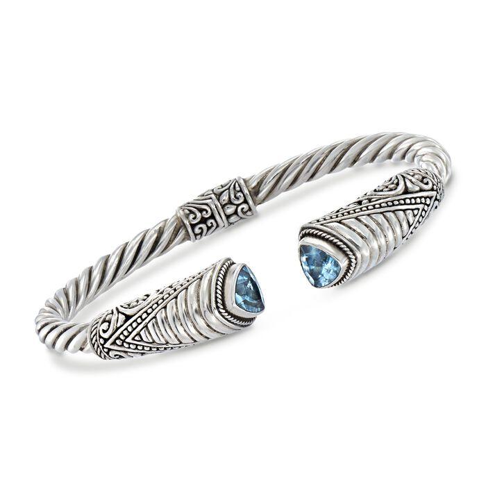 """2.70 ct. t.w. Sky Blue Topaz Bali-Style Cuff Bracelet in Sterling Silver. 8.5"""", , default"""