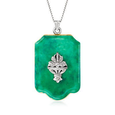 C. 1930 Vintage Platinum and 14kt Yellow Gold Locket Pendant Necklace with Green Enamel and Diamond Accents