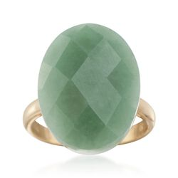 Oval Green Jade Ring in 14kt Yellow Gold, , default