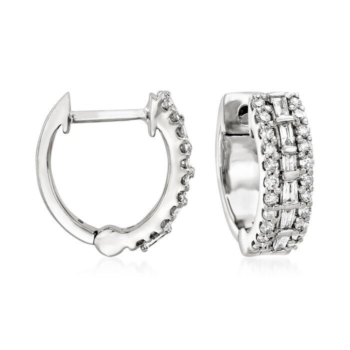 .35 ct. t.w. Diamond Huggie Hoop Earrings in 14kt White Gold