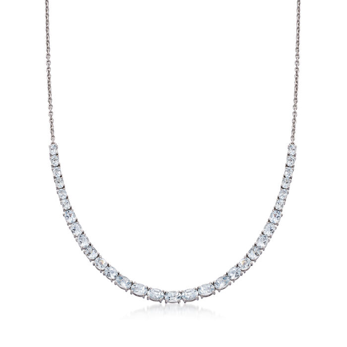 8.80 ct. t.w. Graduated Aquamarine Collar Necklace in Sterling Silver