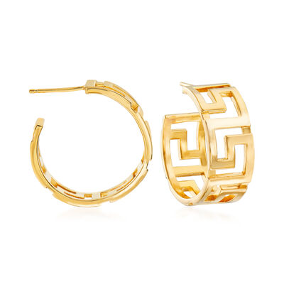 Italian 18kt Yellow Gold Over Sterling Silver Greek Key Hoop Earrings