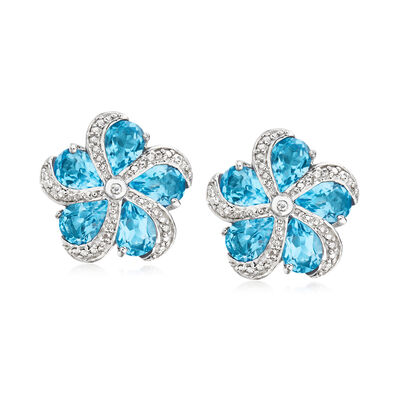 7.00 ct. t.w. Swiss Blue Topaz Flower Earrings in Sterling Silver
