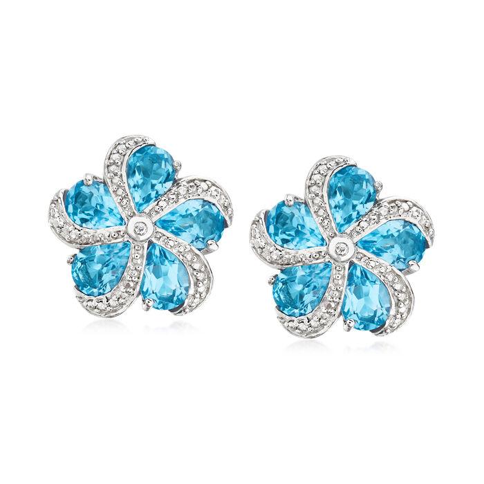 7.00 ct. t.w. Swiss Blue Topaz Flower Earrings in Sterling Silver, , default