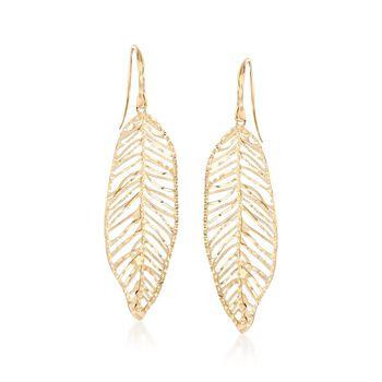14kt Yellow Gold Leaf Drop Earrings , , default