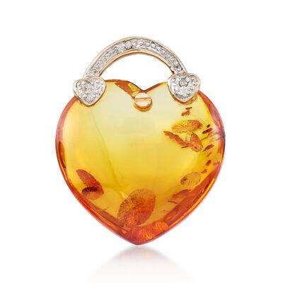 Amber and Diamond-Accented Heart Pendant in 14kt Yellow Gold, , default